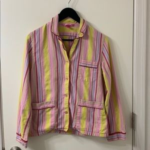 PINK 100% cotton striped PJ top Size small